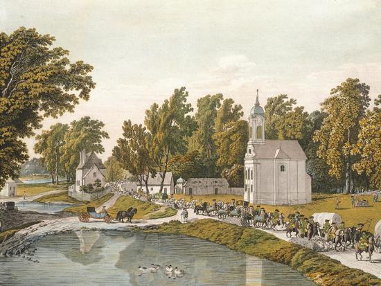 The Danube River, Near Vienna, Austria 18th Century Engraving--Giclee Print