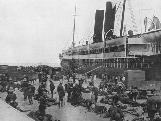 'The Dardanelles Expeditionary Force sets out: A transport loading up at Alexandria', 1915-Unknown-Photographic Print