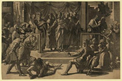 The Death of Ananias, Between 1515 and 1535-Ugo da Carpi-Giclee Print