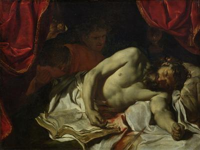 The Death of Cato of Utica-Charles Le Brun-Giclee Print