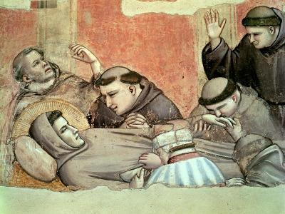 The Death of St. Francis, Detail of St. Francis and the Monks, from the Bardi Chapel-Giotto di Bondone-Giclee Print