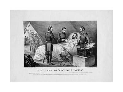 The Death of Stonewall Jackson, Pub. by Currier and Ives, 1872--Giclee Print