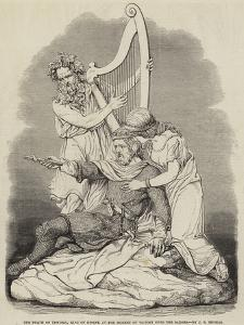 The Death of Tewdric, King of Gwent, at the Moment of Victory over the Saxons, by J E Thomas