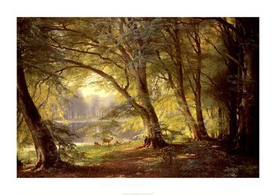 The Deer Park-Carl Frederic Aagaard-Art Print