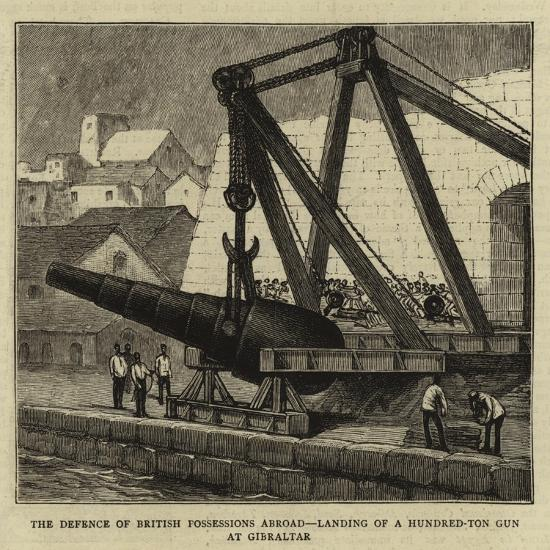 The Defence of British Possessions Abroad, Landing of a Hundred-Ton Gun at Gibraltar--Giclee Print