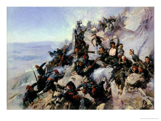 """The Defence of the """"Eagle Aerie"""" on the Shipka in 1877, 1893-Andrei Nikolaevich Popov-Giclee Print"""