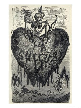 The Demonic Entity of the Succubus Portrayed as a Skeleton on a Bleeding  Heart Giclee Print by Gustave Doré   Art com