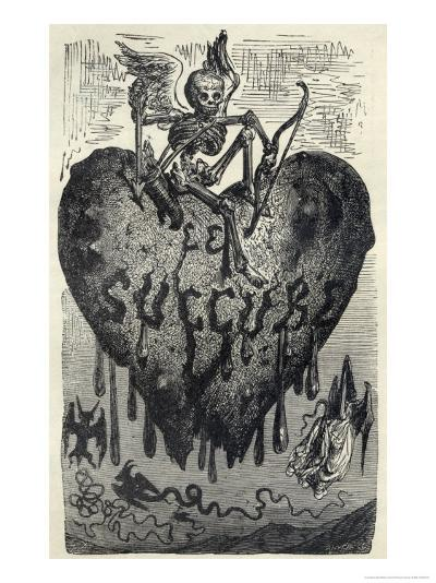 The Demonic Entity of the Succubus Portrayed as a Skeleton on a Bleeding Heart-Gustave Dor?-Giclee Print
