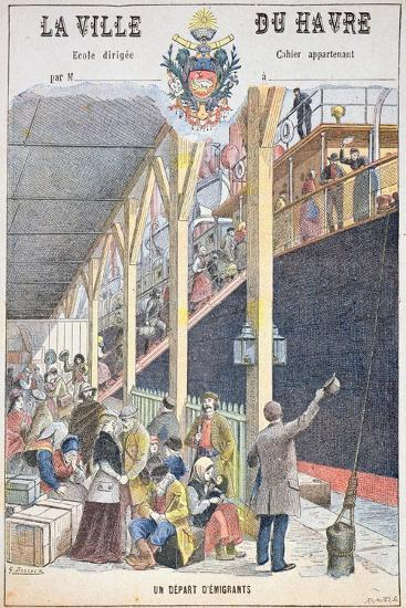 The Departure of Emigrants from Le Havre, Front Cover of a Schoolbook-G. Dascher-Giclee Print