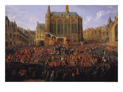 """The Departure of Louis XV from Sainte-Chapelle after the """"Lit de Justice"""" 12th September 1715, 1735-Pierre-Denis Martin-Giclee Print"""