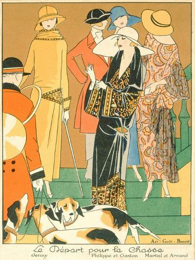 The Departure of the Hunt, Fashion Plate from 'Art, Gout, Beaute', Pub. Paris, 1920'S--Giclee Print