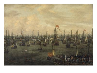 The Departure of William of Orange from Briel, 1688-Abraham Storck-Giclee Print