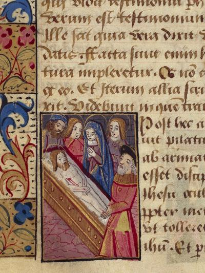 The Deposition of Christ in the Tomb, Miniature from the Book of Hours--Giclee Print