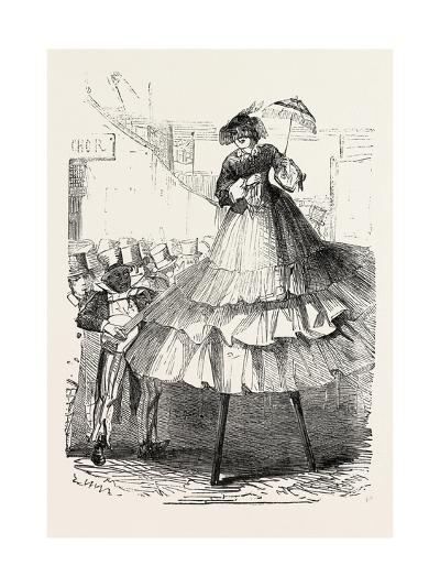 The Derby Day, Scenes by the Roadside and on the Downs: Crinoline on Stilts. Uk, 1860--Giclee Print