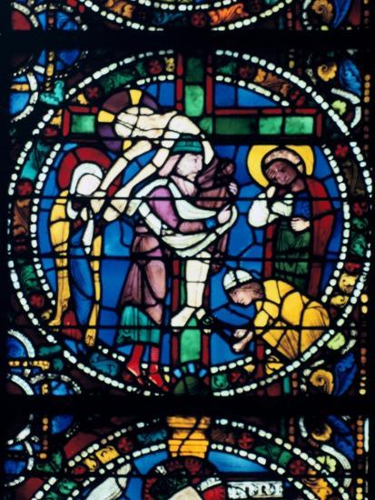 The Descent from the Cross, stained glass, Chartres Cathedral, France, 1194-1260. Artist: Unknown-Unknown-Giclee Print