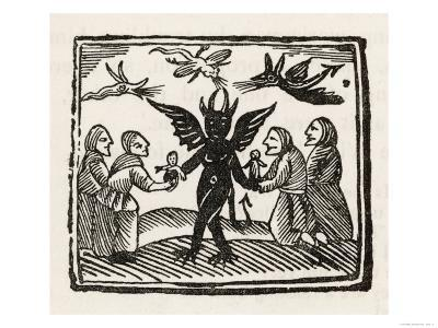 The Devil Dances with Four of His Worshippers While Demons Cavort Over Their Heads--Giclee Print