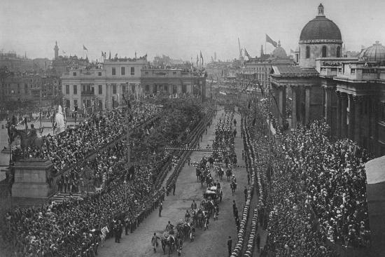 The Diamond Jubilee: Queen Victoria's carriage passing the National Gallery, London, 1897-Unknown-Photographic Print