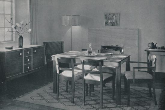 'The Dining Room - Walnut and sycamore furniture', 1942-Unknown-Photographic Print