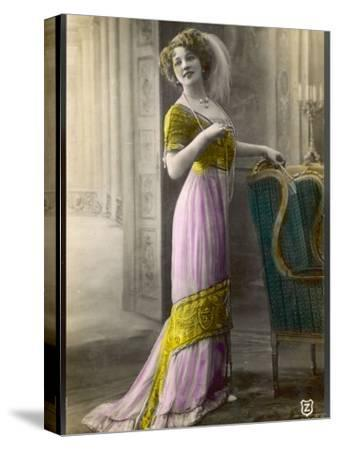 The Directoire, Empire Silhouette: High-Waisted Pink and Gold Gown with an Embroidered Corsage