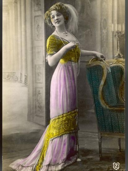 The Directoire, Empire Silhouette: High-Waisted Pink and Gold Gown with an Embroidered Corsage--Photographic Print