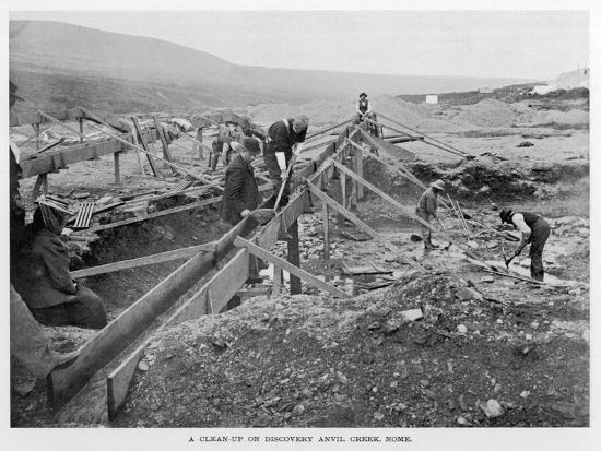 The Discovery Claim at Anvil Creek, Nome, Alaska, During the Gold Rush--Photographic Print