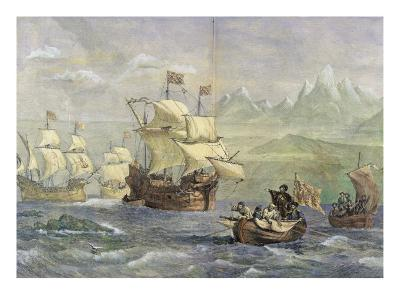 The Discovery of the Strait of Magellan-Oswald Walter Brierly-Giclee Print