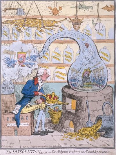 The Dissolution, or the Alchymist Producing an Aetherial Representation, Published by Hannah…-James Gillray-Giclee Print