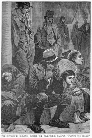 The Distress in Ireland: Outside the Courthouse, Galway - Waiting for Relief, 19th Century--Giclee Print
