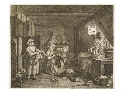 The Distressed Poet a Poor Poet Wonders What to Write-William Hogarth-Giclee Print