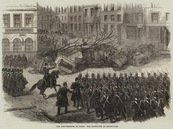 The Disturbances in Paris, the Barricade at Belleville--Giclee Print