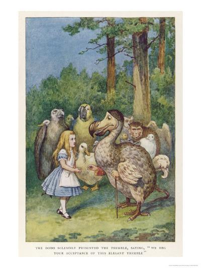 "The Dodo Solemnly Presented the Thimble Saying ""We Beg Your Acceptance of This Elegant Thimble""-John Tenniel-Giclee Print"