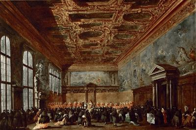 The Doge of Venice Giving Audience in the Sala Del Collegio in the Doge's Palace-Francesco Guardi-Giclee Print