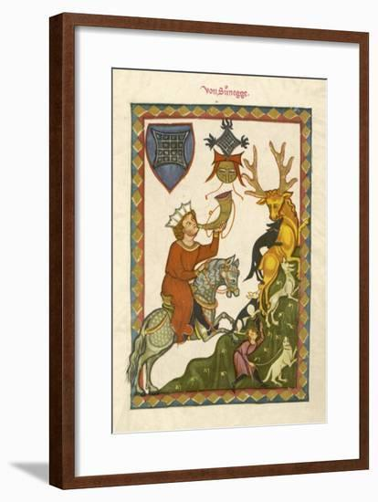 The Dogs Secure Their Catch While a Gentleman on Horseback Blows the Hunting Horn-Hans Naumann-Framed Giclee Print