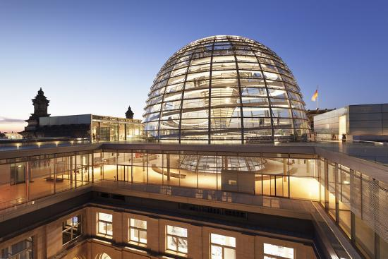 The Dome by Norman Foster, Reichstag Parliament Building at sunset, Mitte, Berlin, Germany, Europe-Markus Lange-Photographic Print