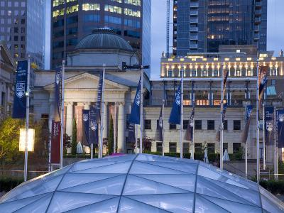 The Dome of the Ice Rink and Vancouver Art Gallery at Night, Robson Square, Downtown, Vancouver, Br-Martin Child-Photographic Print
