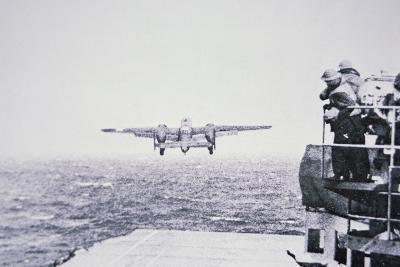 The Doolittle Raid on Tokyo 18th April 1942: One of 16 B-25 Bombers Leaves the Deck of USS Hornet-American Photographer-Photographic Print