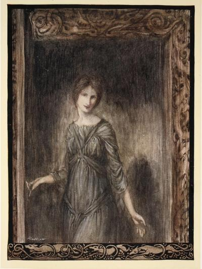 The Door of Fionn's Chamber Opened Gently and a Young Woman Came into the Room-Arthur Rackham-Giclee Print