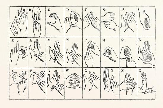 The Double-Handed Alphabet--Giclee Print