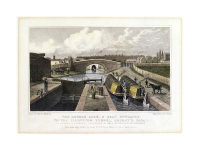 The Double Lock and East Entrance to the Islington Tunnel, Regent's Canal, 1827-Frederick James Havell-Giclee Print