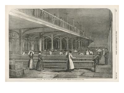 The Doubling Room at Dean Mills, Lancashire, a Cotton Mill--Giclee Print