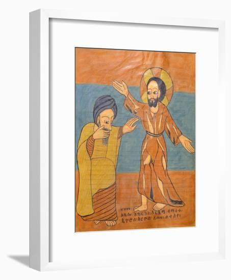 The Doubting of Saint Thomas, Miniature from a Liturgical Parchment Book, Coptic Manuscript--Framed Giclee Print