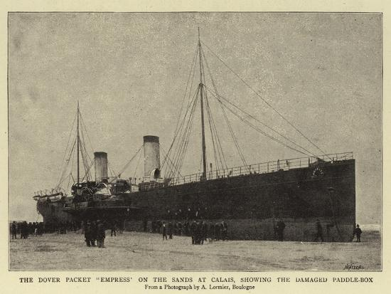 The Dover Packet Empress on the Sands at Calais, Showing the Damaged Paddle-Box--Giclee Print
