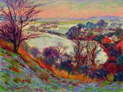 The Downs in Winter-Robert Tyndall-Giclee Print