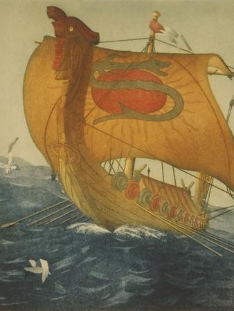 The Dragon Ship, Viking Ship at Sea, Etching by John Taylor Arms 1922--Art Print