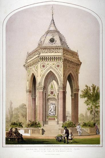 The Drinking Fountain in Victoria Park, Hackney, London, C1861-Robert Dudley-Giclee Print
