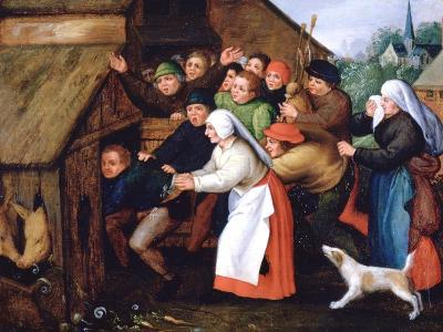 The Drunkard Pushed into the Pigsty, 1564-1638-Pieter Brueghel the Younger-Giclee Print