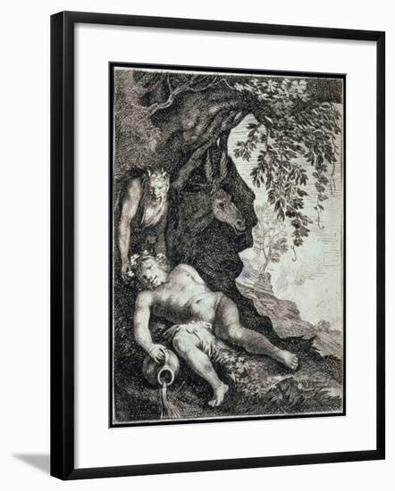 The Drunken Silenus, 17th Century-Moses van Uyttenbroeck-Framed Giclee Print