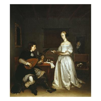 The Duet, Singer and Theorbo Lute Player, 1669-Gerard ter Borch-Giclee Print