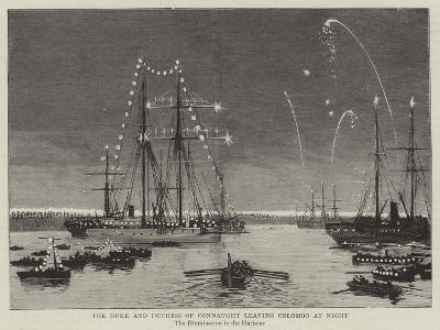 The Duke and Duchess of Connaught Leaving Colombo at Night--Giclee Print