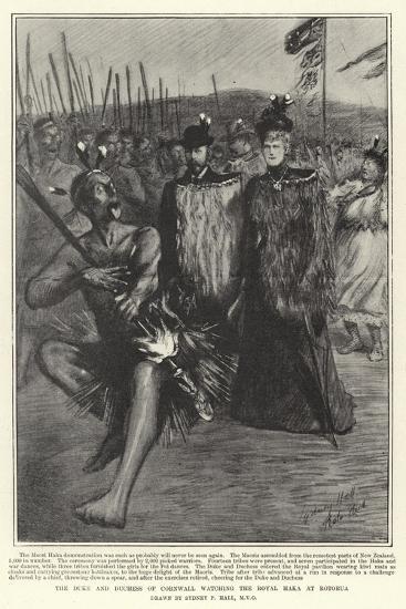 The Duke and Duchess of Cornwall Watching the Royal Haka at Rotorua-Sydney Prior Hall-Giclee Print